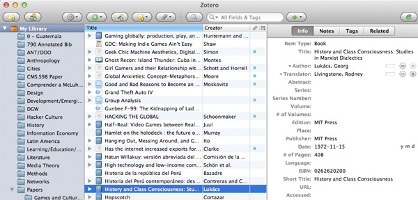 The Zotero interface allows you to build collections of resources and export references lists for them.